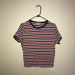 Red, white, and blue striped ribbed tee